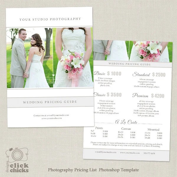 Wedding Photography Package Pricing List Template