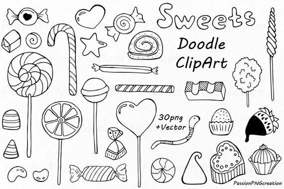 Doodle Süßigkeiten Clipart Candy ClipArt Dessert Doodles