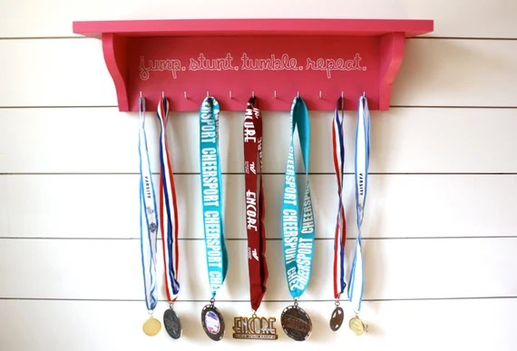 Cheerleading Trophy Shelf and Medal Holder Display