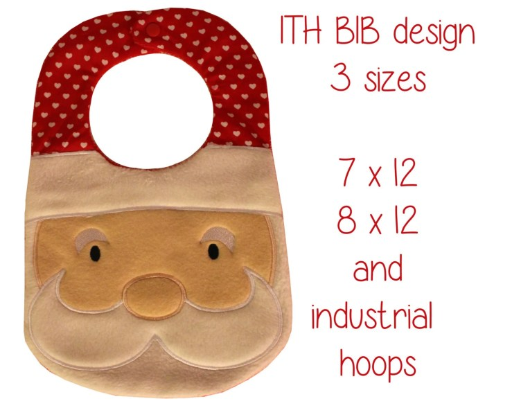 7x12, 8x12 AND industrial hoop sizes included! - BIB - santa - Machine Embroidery Design File, digital download