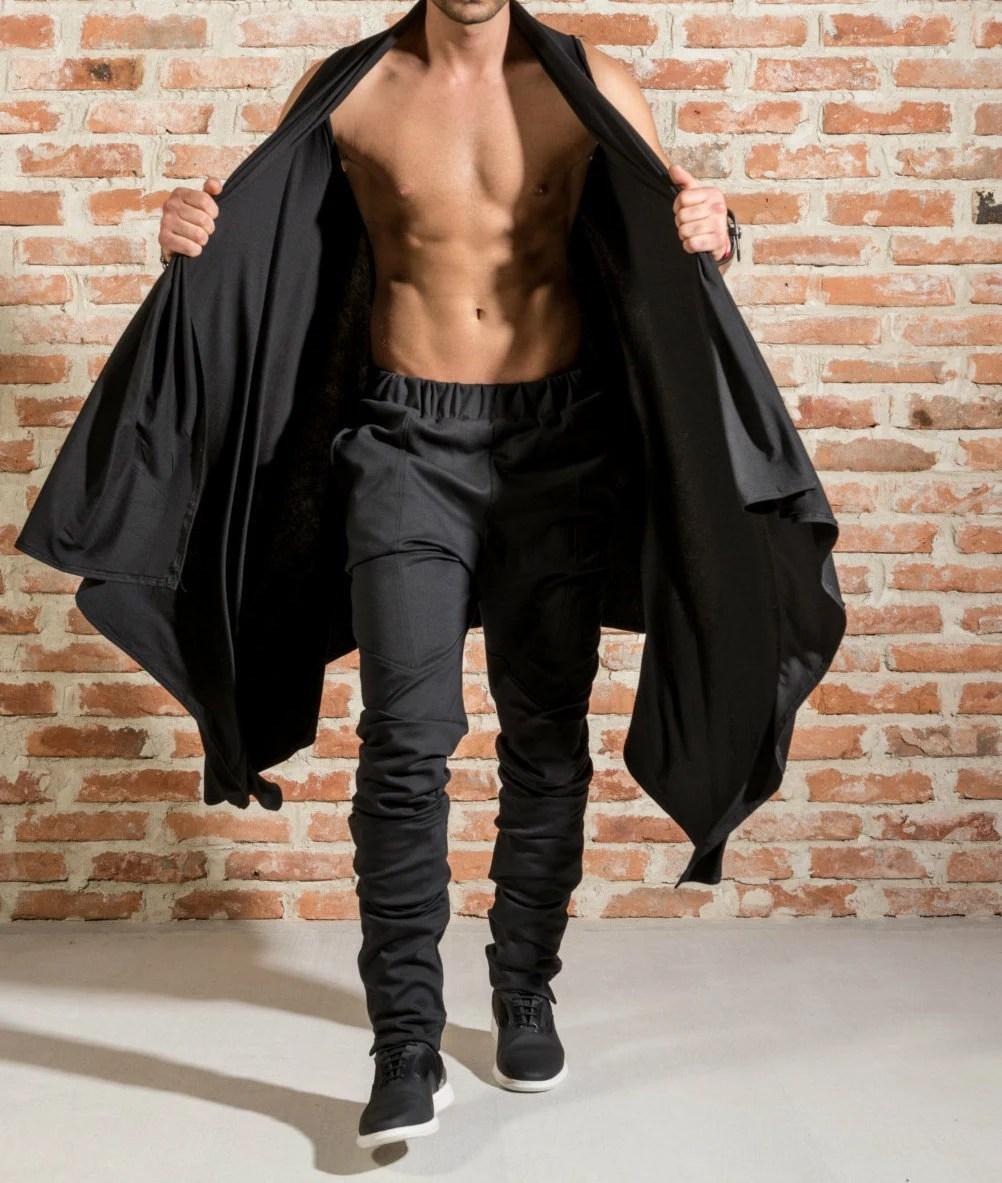 Draped mens cardigan  Sleeveless draped cardigan  Black