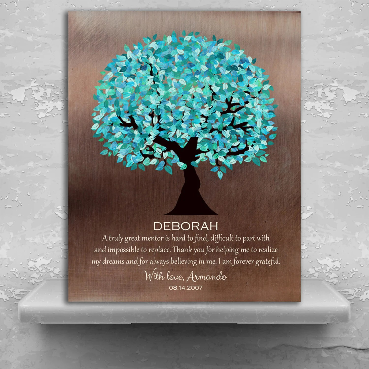 Personalized Gift For Mentor Faux Bronze Turquoise Tree Gift