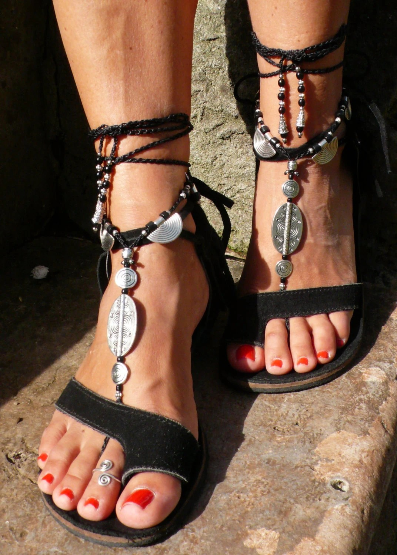 Black Ethnic Barefoot Sandals Foot Jewelry Hippie Toe