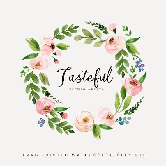 Watercolor Flower Wreath Clipart TastefulHand PaintedWedding