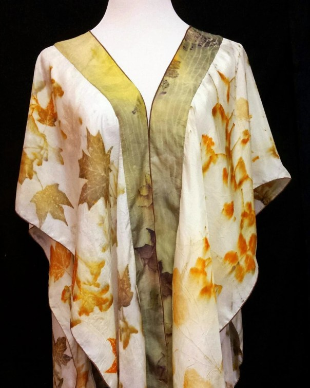 Silk Wrap, 2 Tone Natural & Olive Organic Leaf Designs of Maple and Rose, Created By artist,Cape,Shawl, Ruana, Fits All Sizes, FREE Ship USA