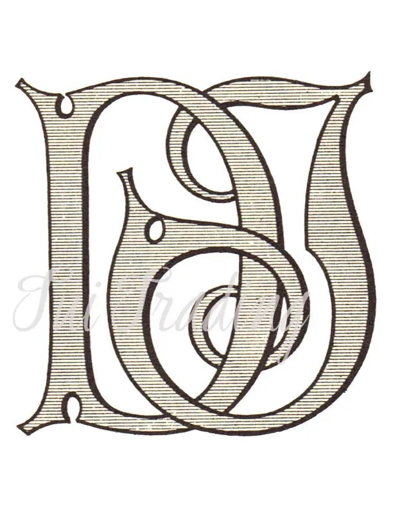 SVG Monogram DJ Digital Letters Initials Clipart Antique