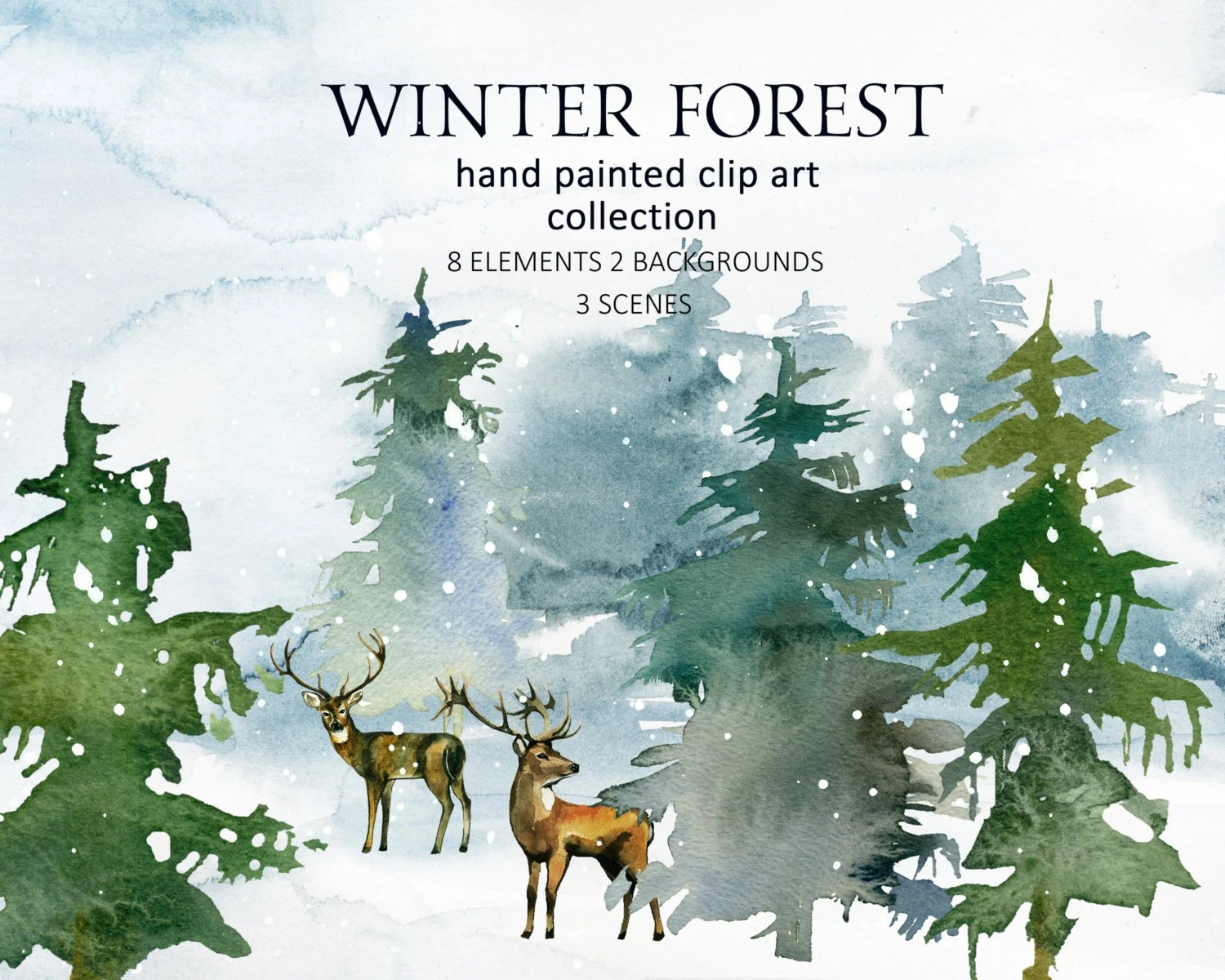 Pine Trees Deer Watercolor Clipart Fir Christmas Winter Forest Landscape Clip Art