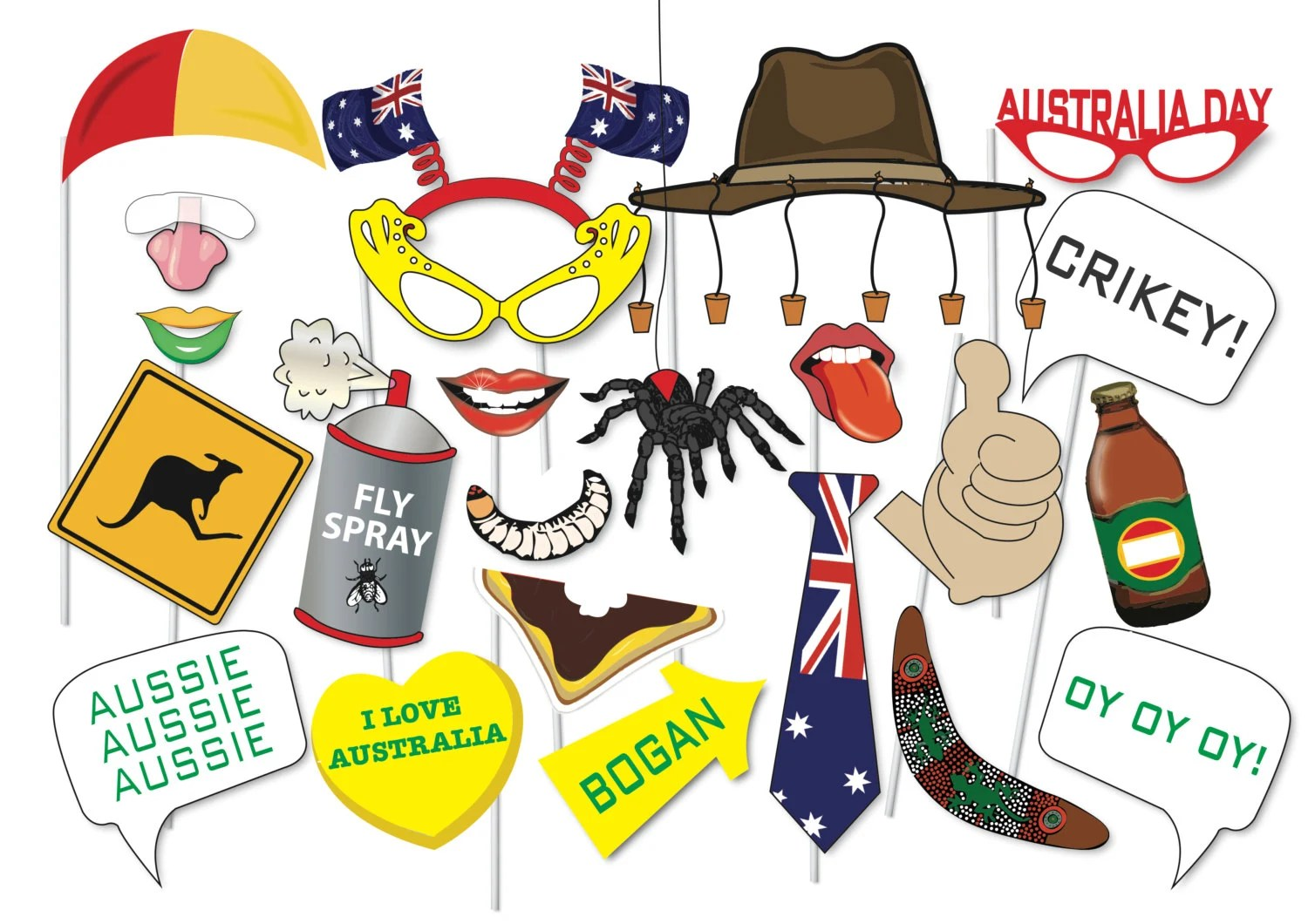 Great Australia Day Photo Booth Party Props Set 42 Piece