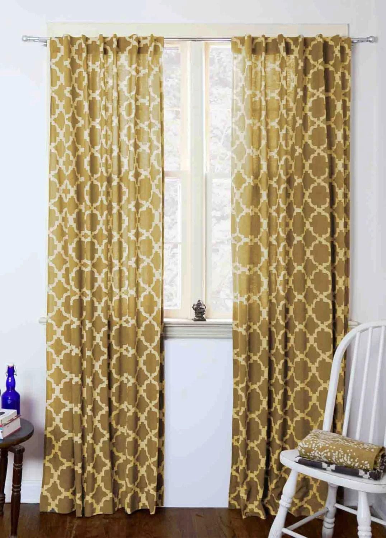 moroccan Curtains Yellow tiles mustard geometric window