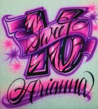 Airbrush T Shirt Zebra Sweet 16 and Custom Name Airbrush