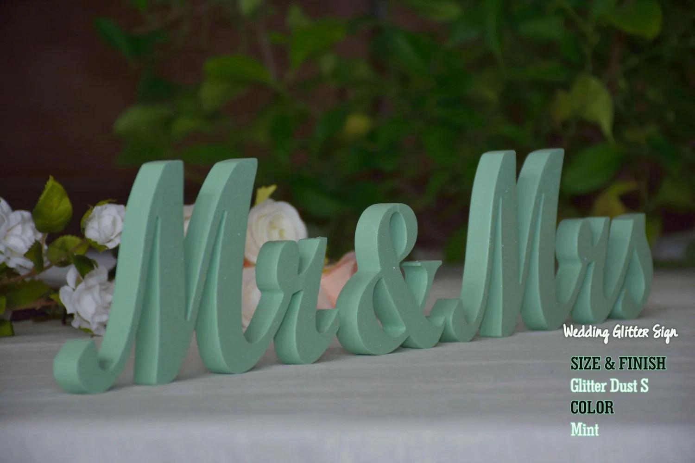 MR & MRS Mint Mint Green Wedding Decorations Rose Gold Sign