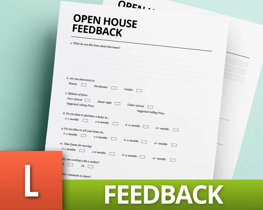 Open House Feedback Template Real Estate Template Realtor