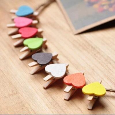 30 Heart Mini Pegs