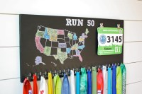 50 States Medal Holder with race bib holder clips and 50 hooks