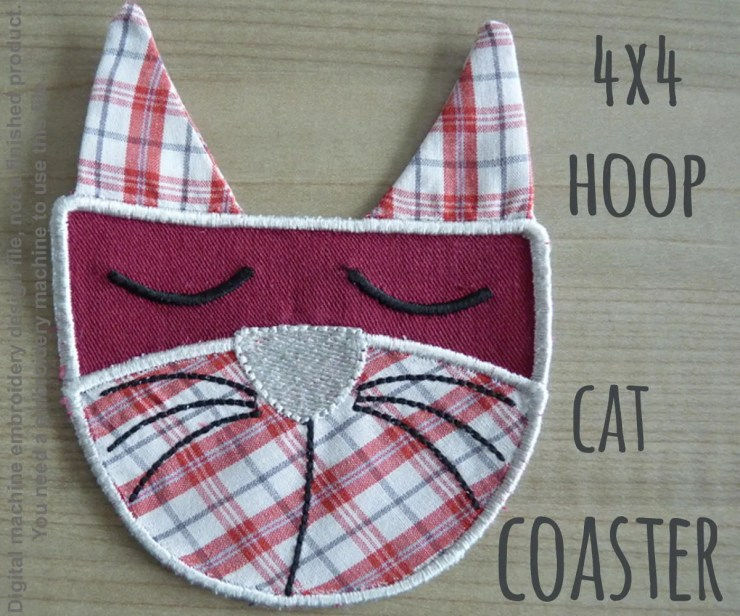 4x4 hoop - CAT COASTER - ITH - In The Hoop - Machine Embroidery Design File, digital download