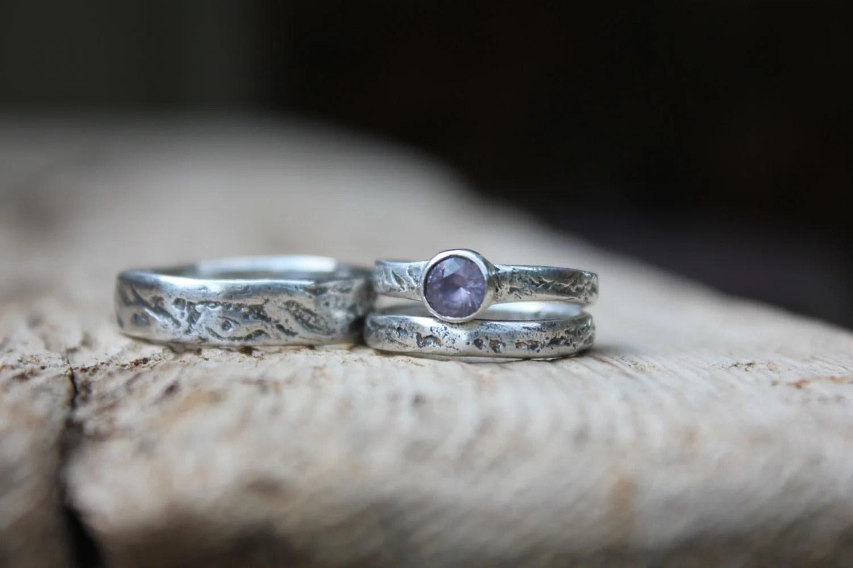 unique engagement ring wedding bands set  purple spinel