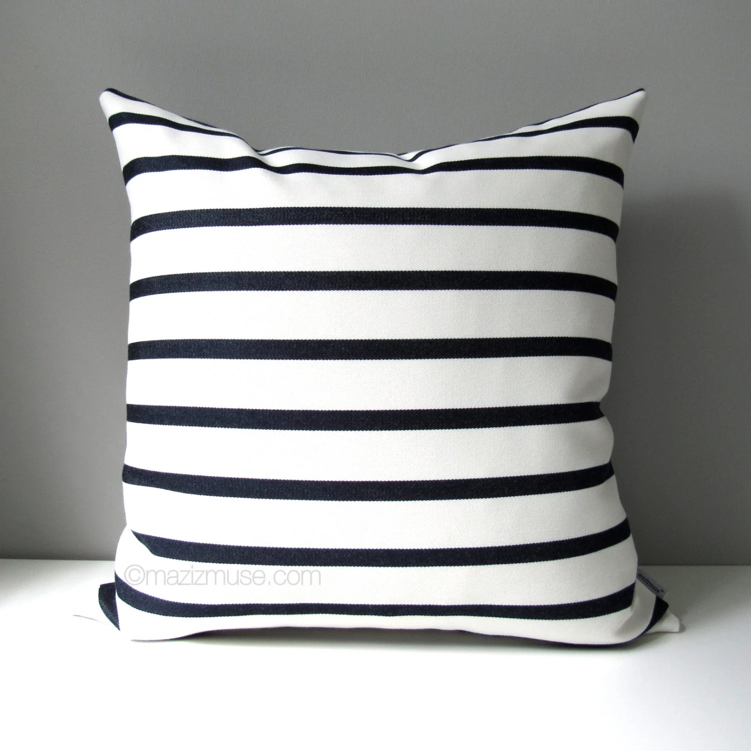 NAVY Blue  White Outdoor Pillow Cover Modern Striped Pillow