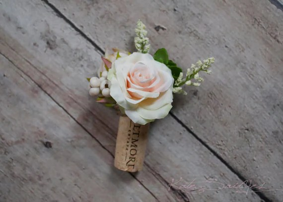 Wine Cork Boutonniere Peach Rose And Succulent Boutonniere