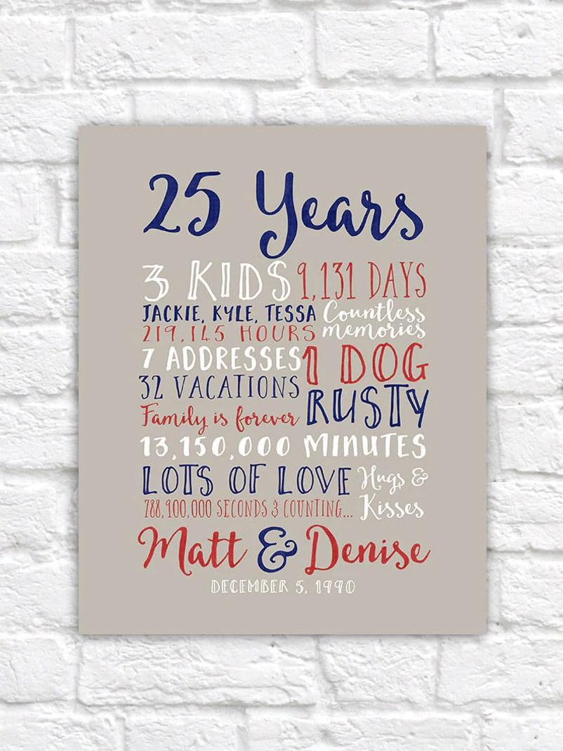 25th Wedding Anniversary Gift Paper Canvas Twenty Fifth 10