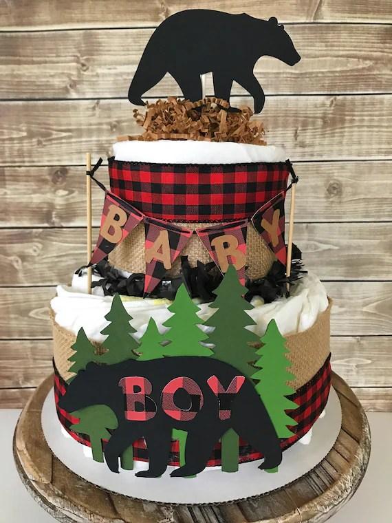 Lumberjack Diaper Cake 2 Tier In Buffalo Plaid Lumberjack