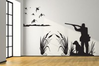 Mallard Duck Hunting Wall Decal 8ft Large Hunter and dog duck