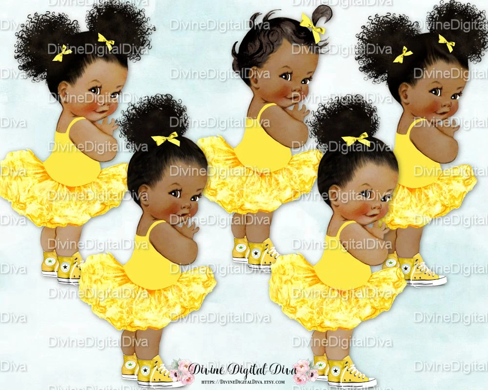 African American Baby Girl Princess Clip Art