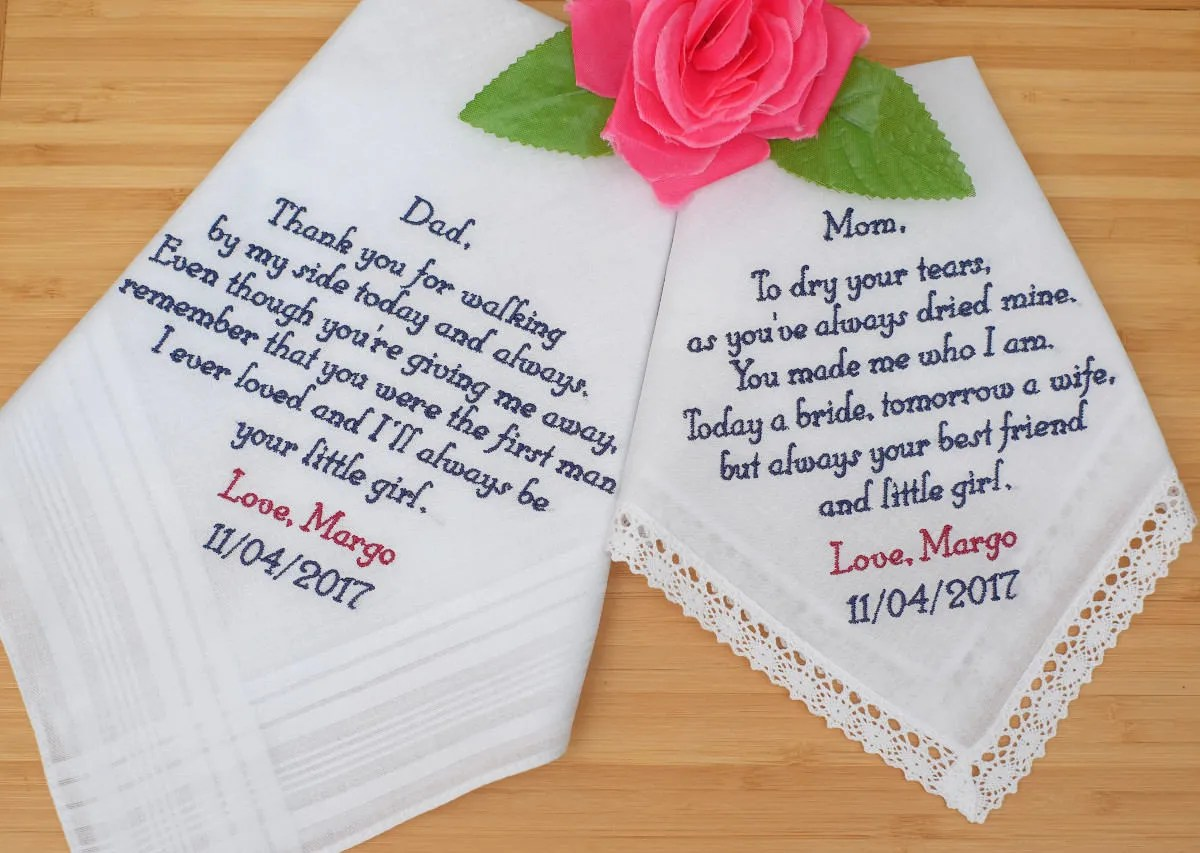 Personalized Handkerchiefs Wedding Hankies Mother And Father