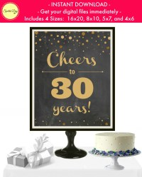Cheers to 30 Years Printable Party Sign Wedding Anniversary