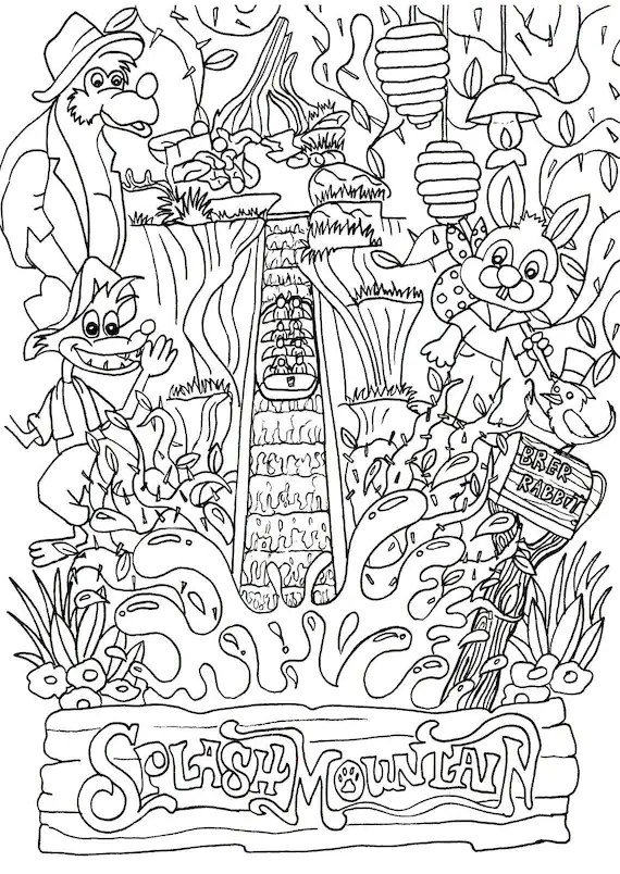 Disney Inspired Disney Coloring Page Splash Mountain Ride   disney coloring pages for adults printable