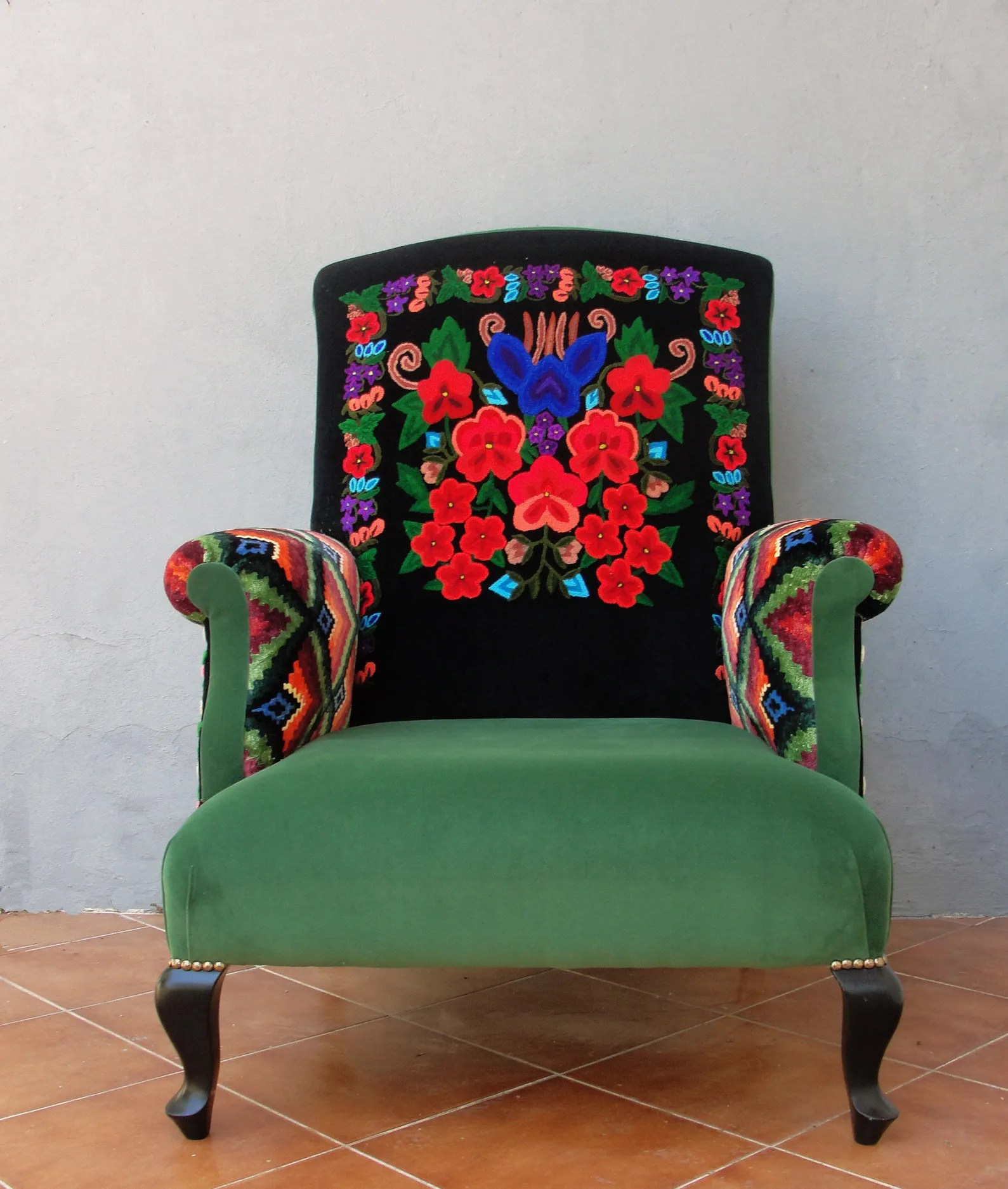 Embroidered Armchair Colorful Bohemian Embroidery Furniture