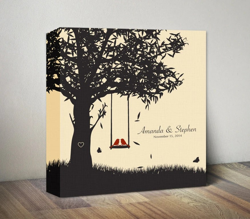 Personalized 1st Anniversary Canvas Gift For Couples Gift For