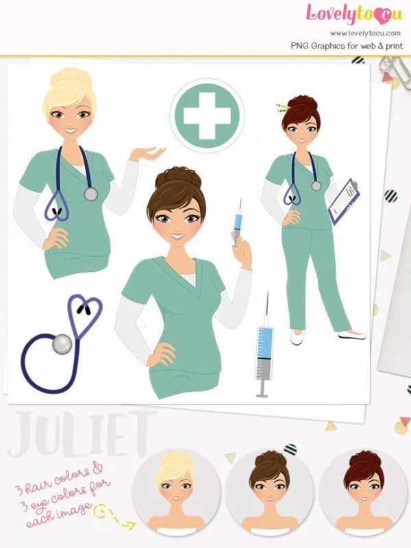 woman nurse character clipart healthcare
