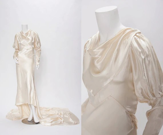 Wedding Dress With Cowl Neck Juliet Sleeves Vintage 1920-30s