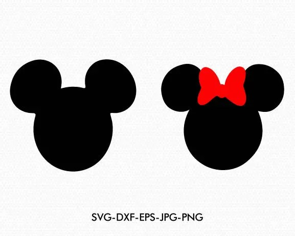 Mickey Minnie Ears Svg Minnie Bow Disney Monogram Svg Dxf