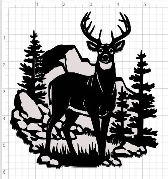 Download Buck Deer Scene Design SVG pdf eps dxf Studio 3 Cut Files