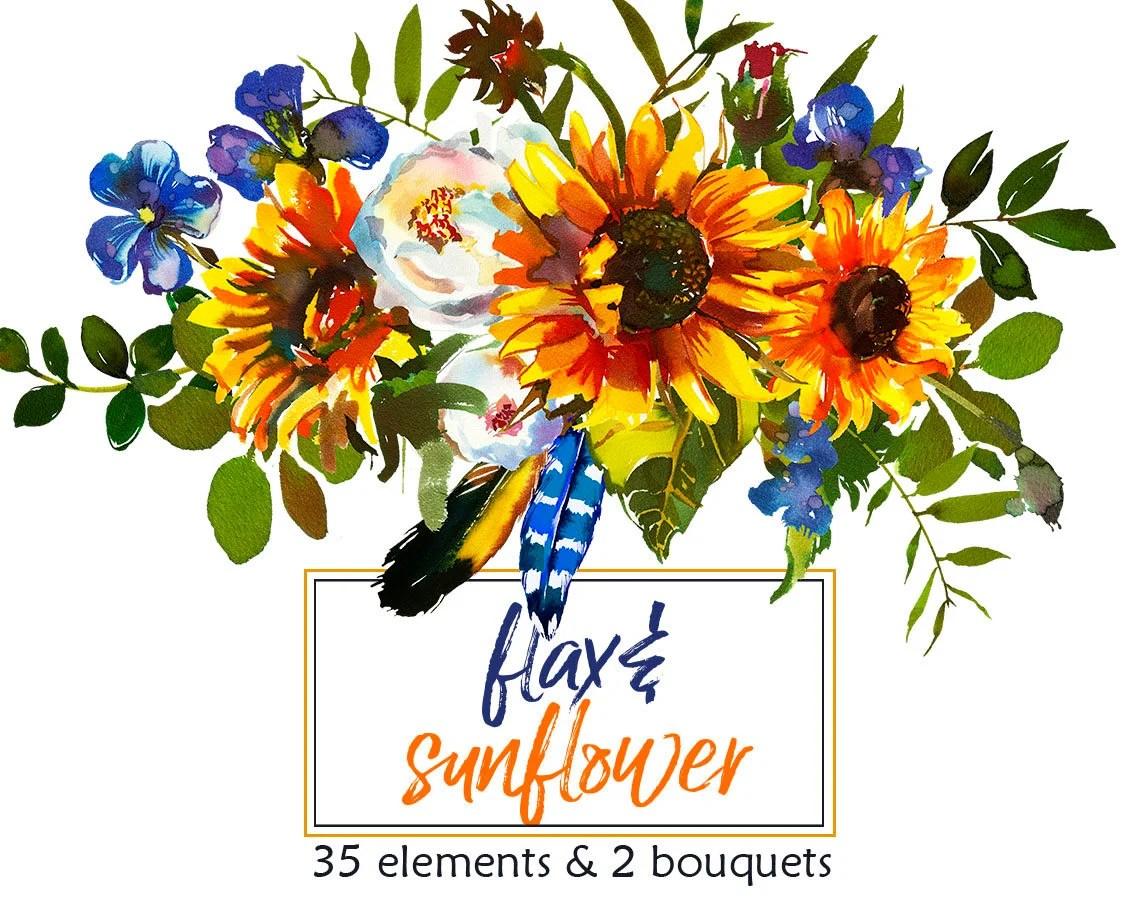 boho sunflower watercolor clipart