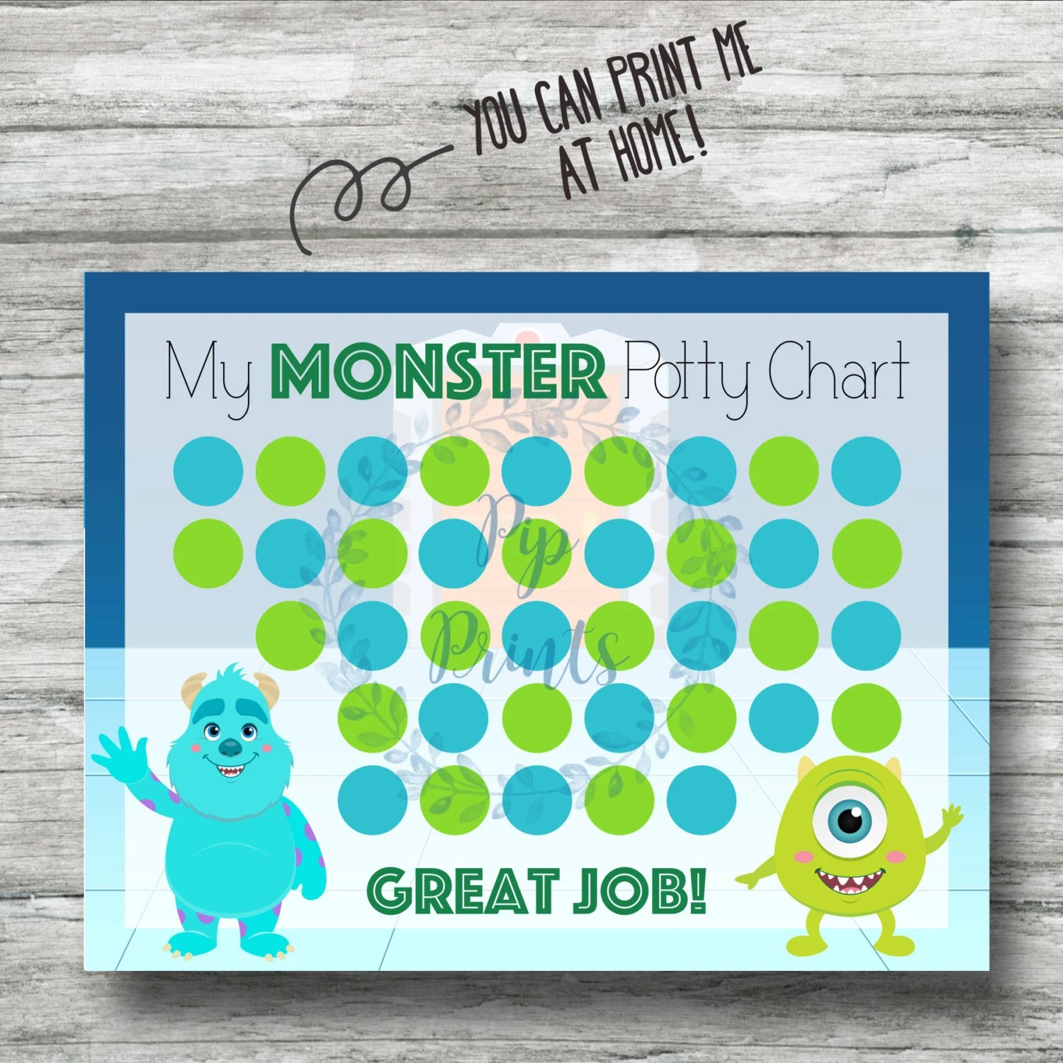Printable Monsters Inc Potty Training Chart Instant