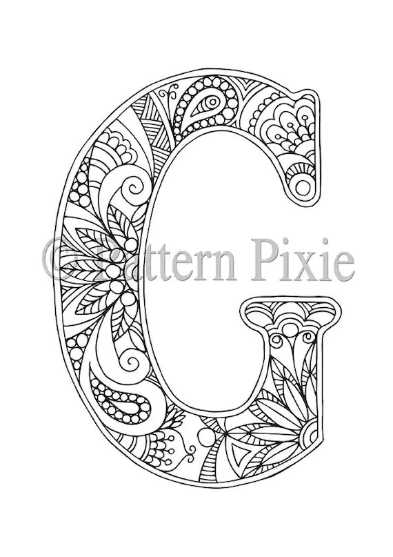 Adult Colouring Page Alphabet Letter G