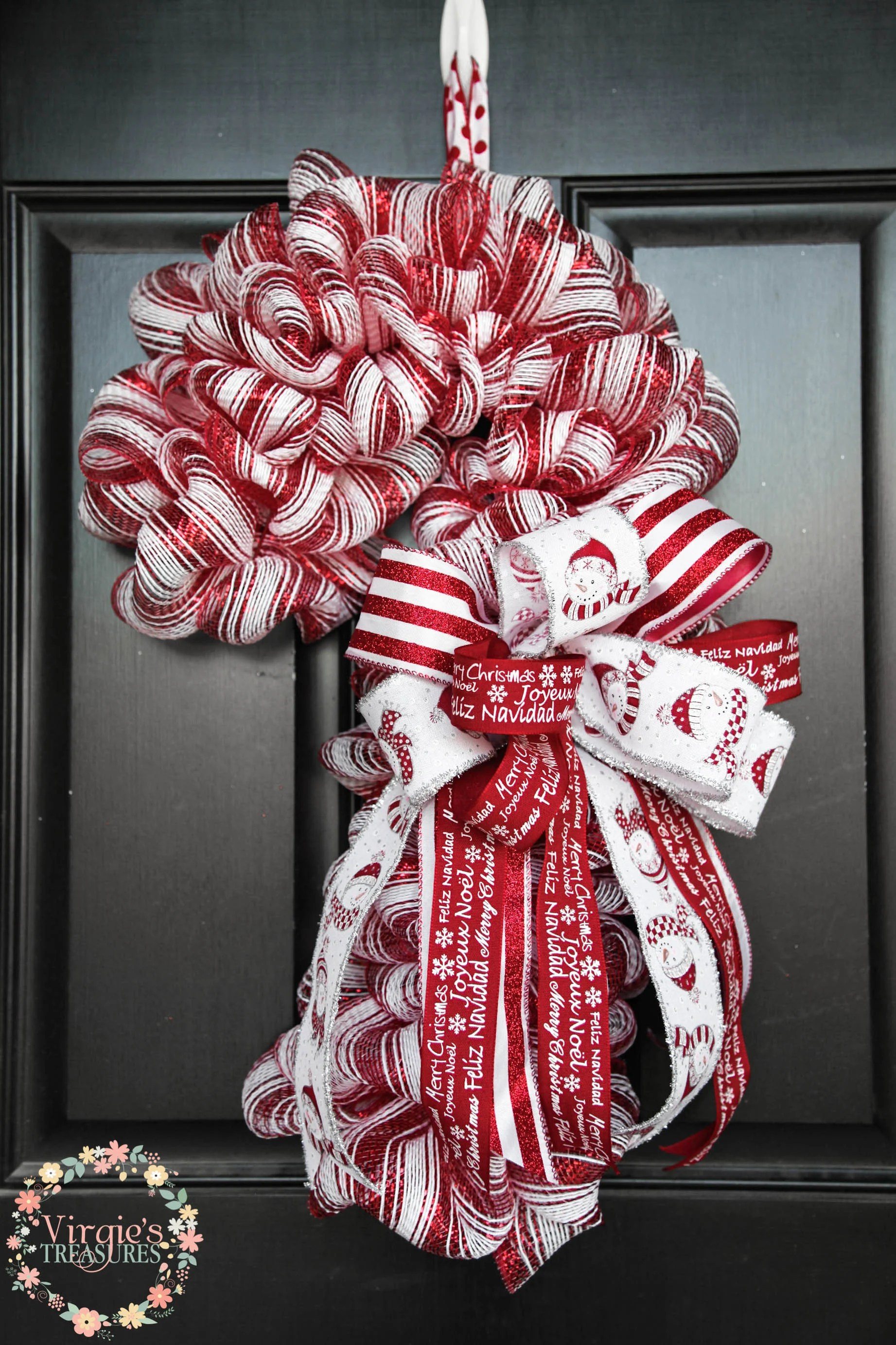 Candy Cane Wreath Candy Cane Deco Mesh Wreath Red and White