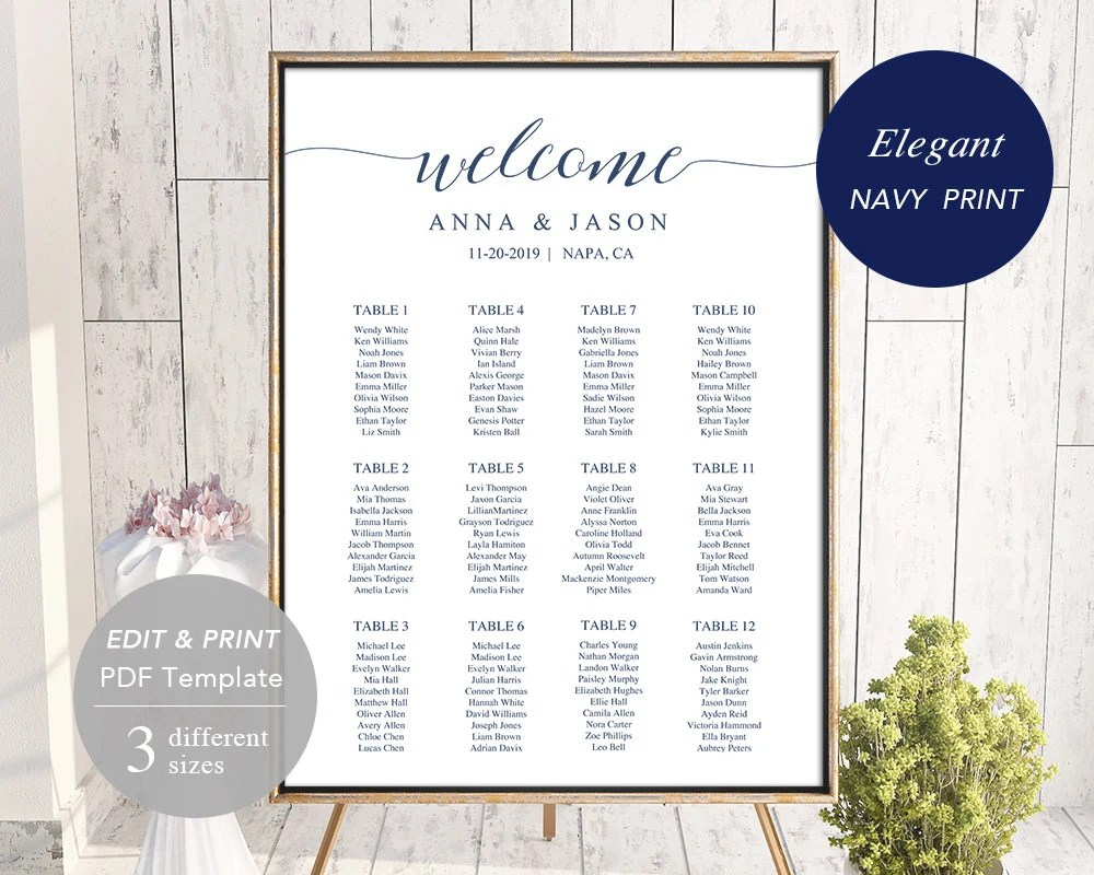 Wedding seating chart template printable board file editable pdf diy instant download navy blue also rh etsy
