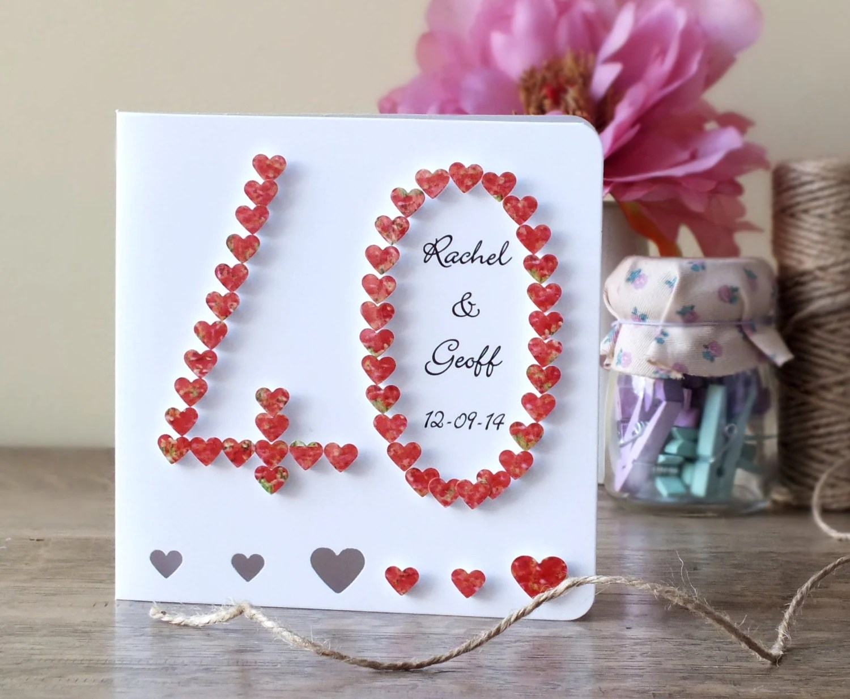 Handmade 3D 40th Ruby Wedding Anniversary Card 40th