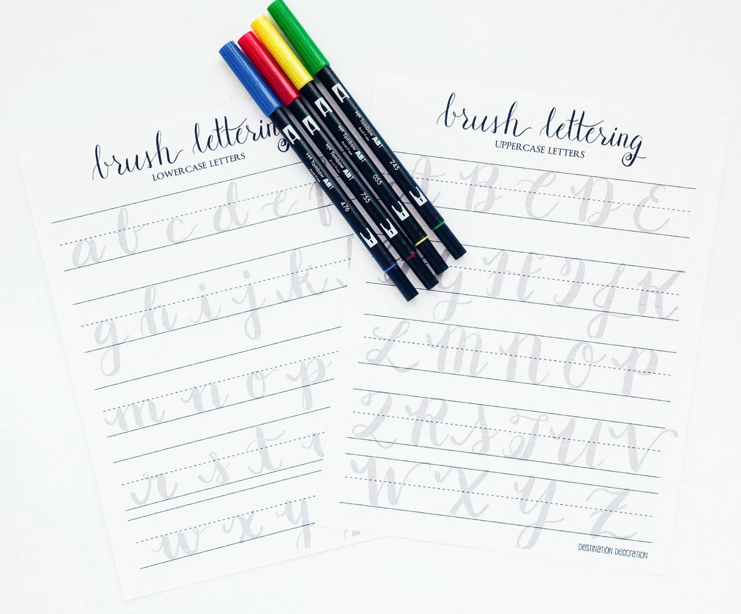 Brush Lettering Practice Worksheets Uppercase And Lowercase