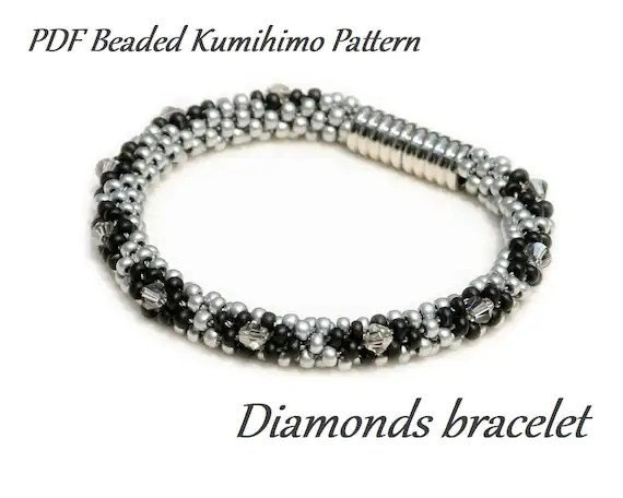 PDF Beaded Kumihimo Pattern Diamonds Kumihimo bracelet