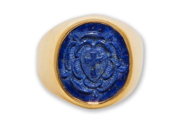 Rosicrucian Ring Lapis Carved Genuine Gemstone Gold Plated
