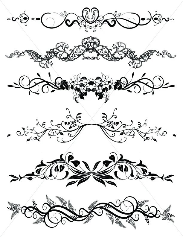Flourishes SVG Dividers Lines Ornamental Borders Scalabe