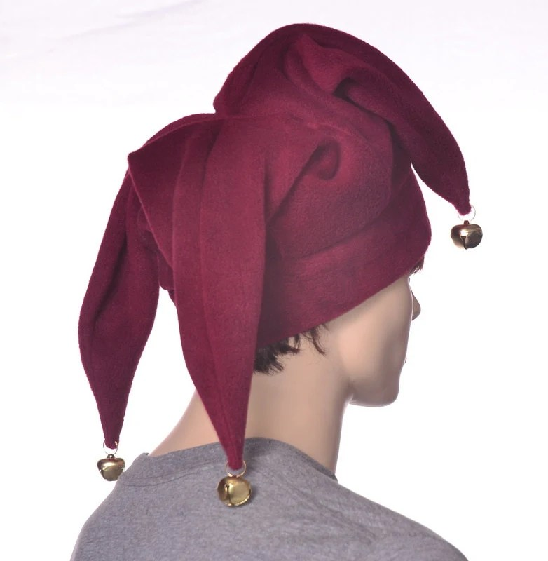d7802bc4 Burgundy Jester Hat Three Pointed Maroon Joker Halloween