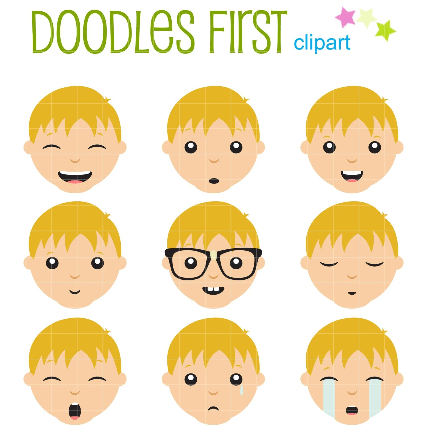 Boys Facial Expressions Clip Art For Scrapbooking Card Making