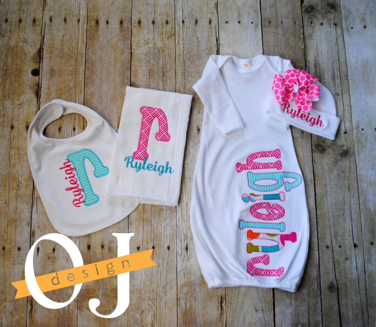 Personalized Baby Girl Gift Set Newborn Gift Set Infant