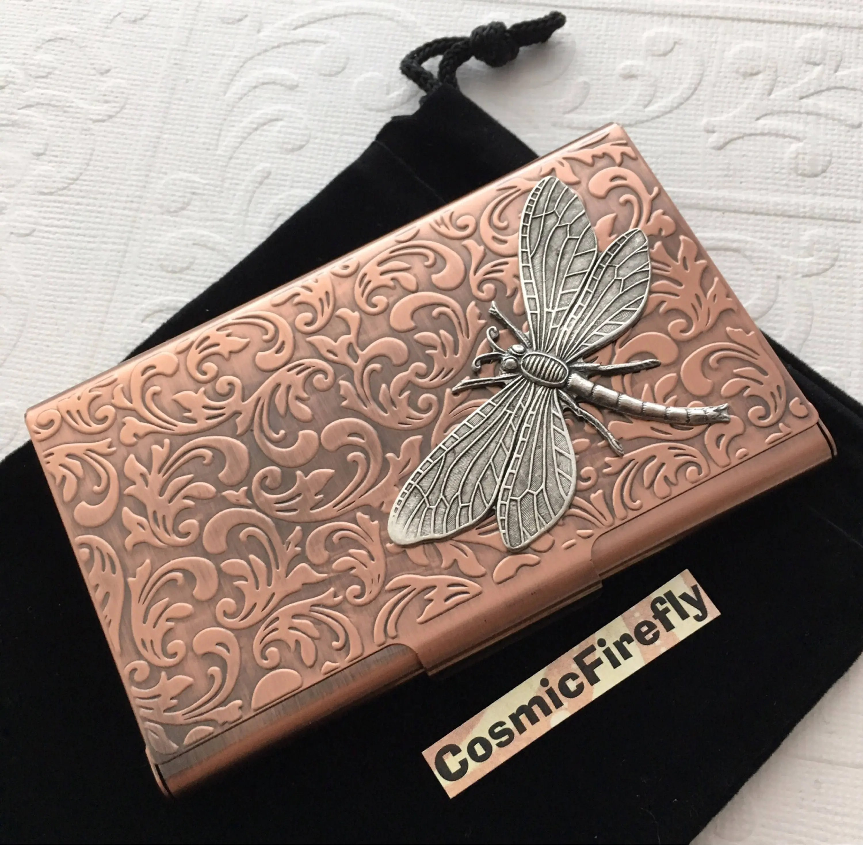 Copper Card Case Silver Dragonfly Steampunk Business