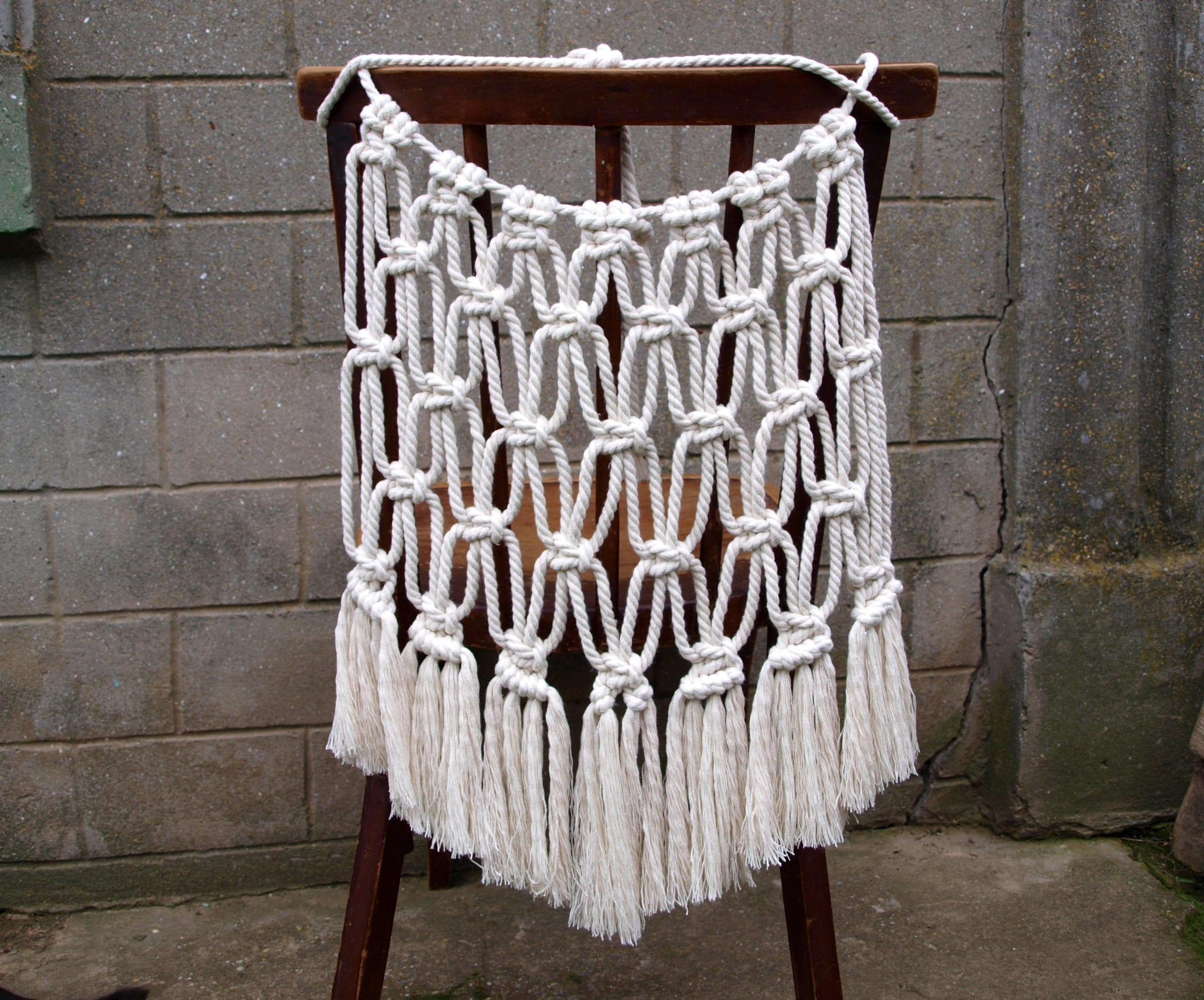 bride and groom chair covers wicker chairs lowes boho wedding cover macrame back
